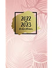 2022-2023 Pocket Planner: Two-Year Monthly Calendar Planner for Purse - 24 Months Pocket Agenda Schedule, To-do list, US Holidays & Quotes - 2-Year Pocket Planner - Stylish Leaves Rose Gold & Black Cover