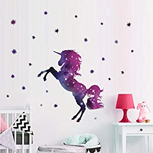 "Bamsod Dream Unicorn Wall Stickers Kids Wall Decals Vinyl Art for Girls Boys Bedroom,Home Decor 14""x23.6"""
