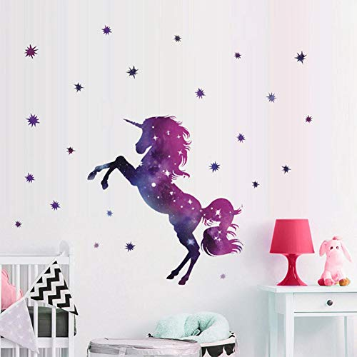 Bamsod Dream Unicorn Wall Stickers Kids Wall Decals Vinyl Art for Girls Boys Bedroom,Home Decor 14''x23.6''