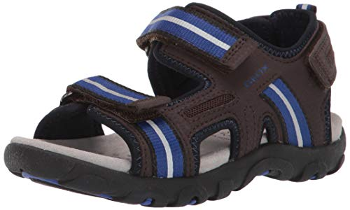 Geox Boys' Strada 17 Play Velcro Sandal Sport, Bronx/Blue, 24 Medium EU Toddler (8 US)