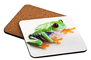 "Rikki Knight ""Crazy Frog Close-Up Design"" Square Beer Coasters"