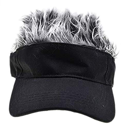 Visor Hats With Hair (Adult Novelty Sun Visor Cap with Spiked Hairs Wig Peaked Adjustable Baseball Hat)