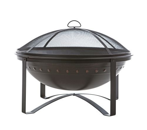 Fire Sense Highland Round Wood Burning Fire Pit | Brushed Bronze Finish | Mesh Spark Screen, Wood Grate, and Screen Lift Tool Included | 29 Inch Steel Fire Bowl | Lightweight Portable Patio - This outdoor fire pit has been constructed using high grade steel. This round fire pit comes with an attractive brushed bronze finish. This large fire pit uses wood chunks as its source of fuel. - patio, outdoor-decor, fire-pits-outdoor-fireplaces - 41HTwar%2BOmL -