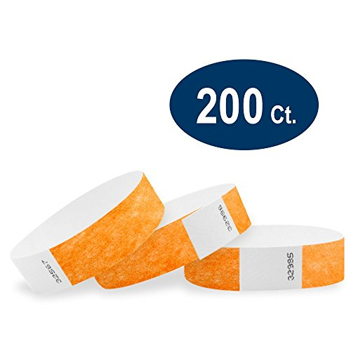 """WristCo Neon Orange 3/4"""" Tyvek Wristbands - 200 Pack Paper Wristbands For Events"""