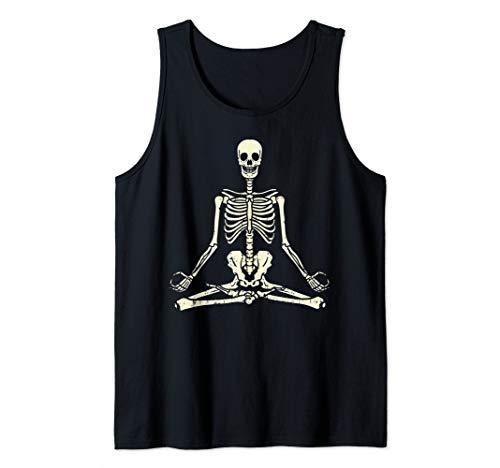 Meditating Skeleton Lotus Yoga Zen Balance Halloween Costume Tank