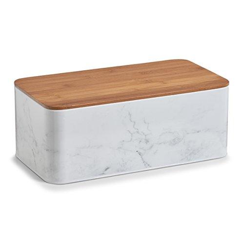 Zeller 19332Marble Bread Bin withBamboo Lid Metal, White, 42.5x 22.9x 16.5cm