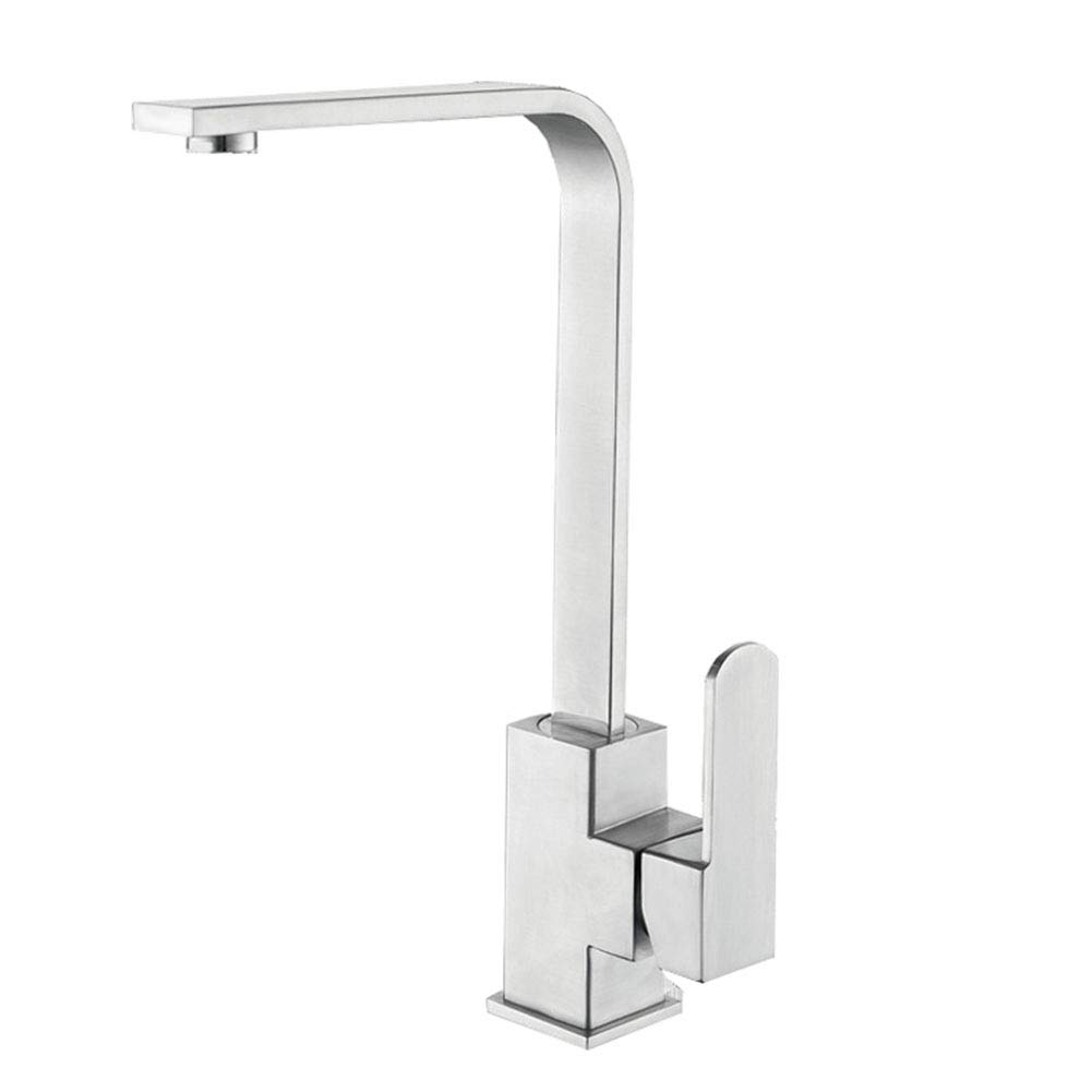 YDALJ Stainless Steel Faucet Kitchen Sink Square redatable Hot And Cold Lead-Free Faucet Drawing