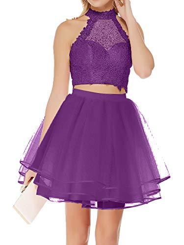 Mini Heimkehr Tanzenkleider Zwei Violett von Damen Spitze teilig Cocktailkleider Oberhalb Abendkleider Charmant Knie BqfgxZ