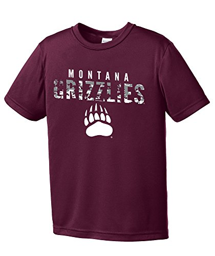 NCAA Montana Grizzlies Youth Digital Camo Short Sleeve Polyester Competitor T-Shirt, Large,Maroon (Montana Football)