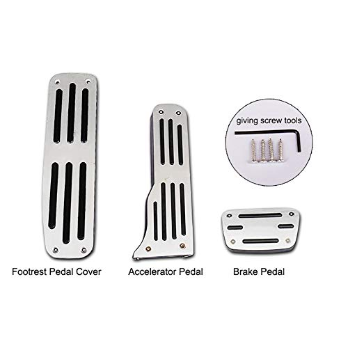 QHCP Car Left Side Aluminum Alloy Foot Rest Pedal Accelerator Pedal+ Brake Pedal Cover Trim Fit for Chevrolet Camaro with -