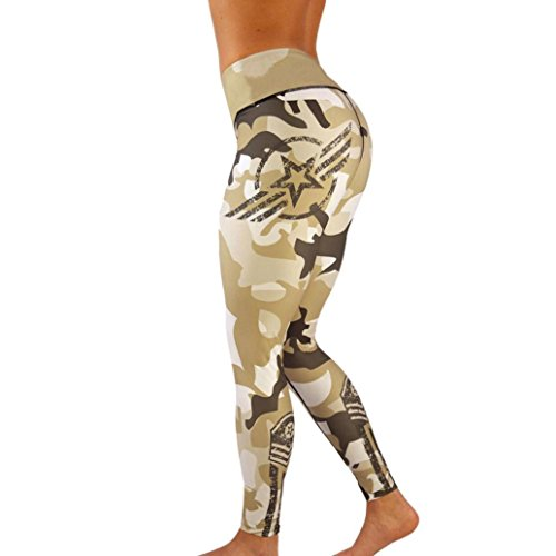 Athletic Leggings, Gillberry Women High Waist Yoga Fitness Leggings Running Gym Stretch Sports Pants Trousers (Khaki, XL)