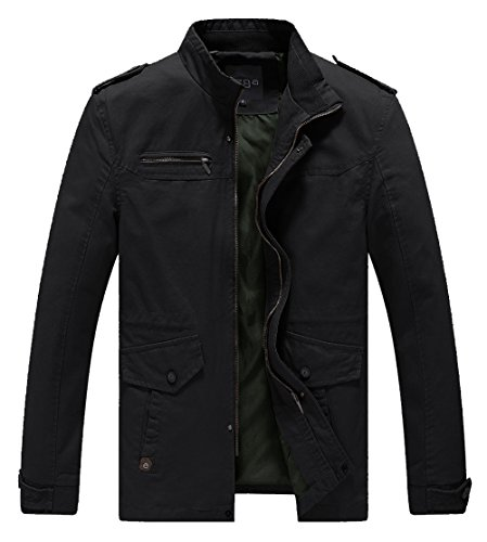 Jacket Fall Mens (Lega Mens Cotton Classic Pea Coat Spring & Fall & Winter Ourdoor Jacket(Black/US Large/Asia 4XL))