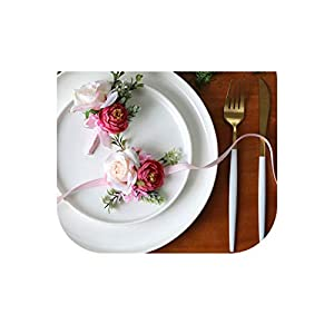 White Wedding Corsage and Wrist Flower Suit Silk Rose Marriage Corsage Boutonniere Groom Guest Brooch Wedding Accessories 18
