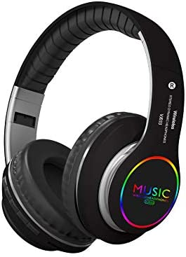 Rechargeable Bluetooth Headphones Over Ear, Wireless, Foldable, with Built-in Mic, Comfortable Protein Earpads, Support TF Card and FM, Could Connect to MP3 IPAD TV Mobile Black