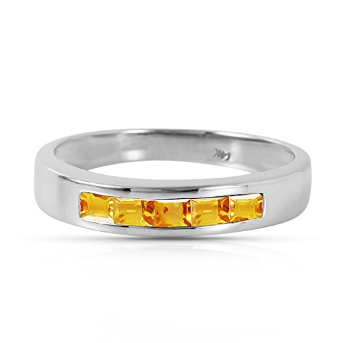 (Galaxy Gold 14k White Gold Ring with Natural Citrines - Size 8)