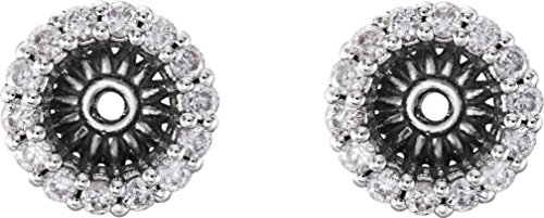 Platinum Diamond Cluster Earring Jackets (4.1MM) (0.16 Ctw, G-H Color, SI2-SI3 Clarity) (Earring Platinum Jackets Diamond)