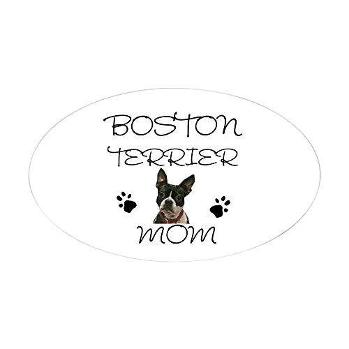 - CafePress Boston Terrier Mom Sticker (Oval) Oval Bumper Sticker, Euro Oval Car Decal