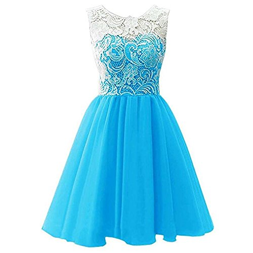 Girls Lace Dress Ballgown for Wedding Party Blue (Big Size Fancy Dress)
