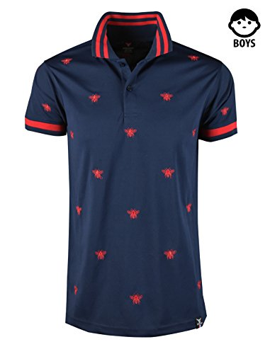 SCREENSHOTBRAND-S11818BY Mens Hipster Hip-Hop Premium Tees - Stylish Fashion Bee Print Embroidery Polo T-Shirt - Navy-Small by SCREENSHOT