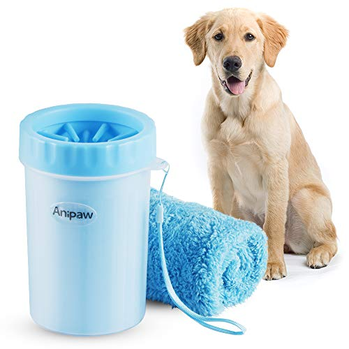 Dog Paw Cleaner, Anipaw 2-in-1 Silicone Dog Paw Washer Cup with Towel, Portable Pet Cleaning Brush Feet Cleaner for Dog Cat Grooming with Muddy Paws (Blue) (Blue) (1 2 Silicone Washer)