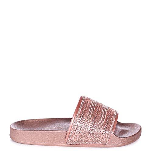 Linzi Garbo - Rose Gold Slip On Slider with Diamante Embellished Front Strap Rosegold uDyqoCVGsO