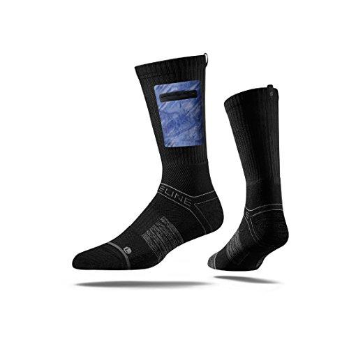 Strideline Realtree Premium Hunting Pocket Crew Socks, Black with Fishing Camo