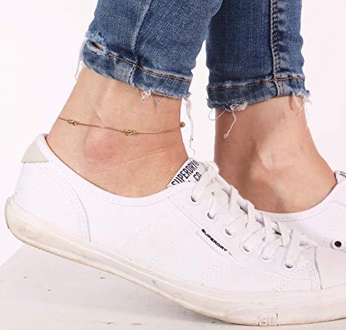 14k Gold Filled Dainty Anklet Minimalist Women Ankle Bracelet Foot Jewelry ()
