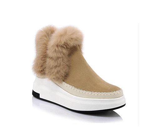 Leather Stivaletto donna neve alla 38 confortevole stivali 38 coniglio camel Muffin Capelli CAMEL Genuine moda fondo basso del xn4FHIwqP