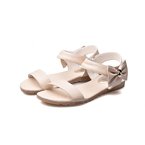 AalarDom Womens Open-Toe Low-Heels PU Solid Sandals Beige UjXlI9v3P