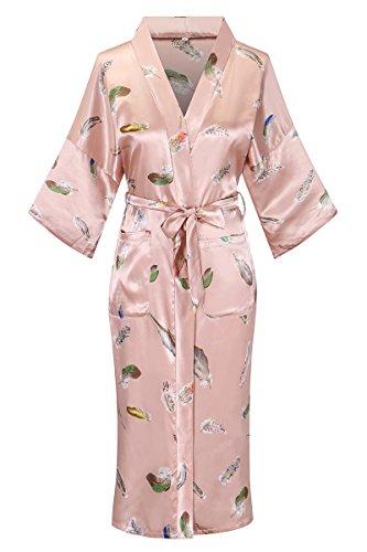 Print Vest Silk (DandyChic Women's Kimono Robes Feather Print Kimono Imitation Silk Long Style)