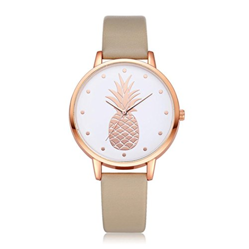 Best buy BEUU 2018 Hot The New High-Grade Pineapple Casual Leather Stainless Steel Pin Buckle Round Waterproof