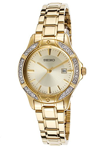 Seiko Ladies SUR874 Gold-Tone Bracelet Crystal Bezel Watch