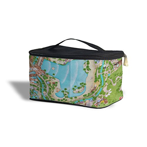 Typhoon Lagoon Map Cosmetics Storage Case - One Size Cosmetics Storage Case - Makeup Zipped Travel - Typhoon Map Lagoon Of