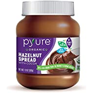 Organic Hazelnut Spread with Cocoa by Pyure | Keto Friendly, No Palm Oil, Vegan, Peanut Free | 90% Less Sugar Than the Market Leading Brand, 13 Oz