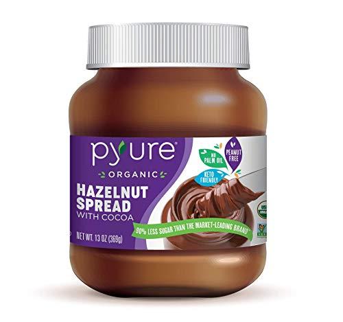 Pyure Organic Hazelnut Spread with Cocoa, Keto Friendly, 2 Net Carbs, No Palm Oil, Peanut Free, 90% Less Sugar Than The Market Leading Brand, 13 Oz