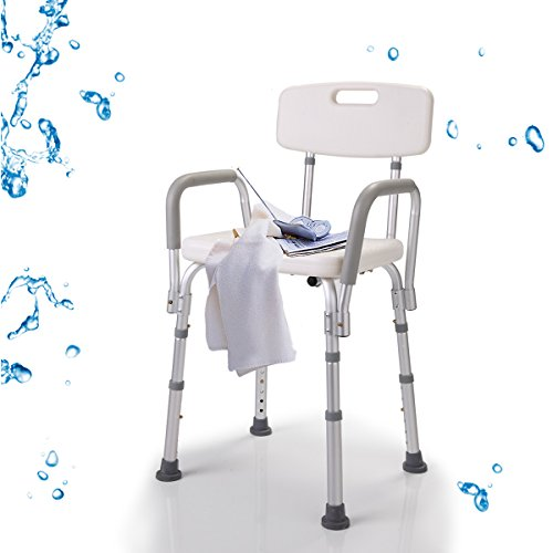 (JAXPETY Shower Chair with Back - Bathtub Chair w/Arms for Handicap, Disabled, Seniors & Elderly - Adjustable Medical Bath Seat Handles for Bariatrics - Non Slip Tub Safety (Shower Chair w/Arms))