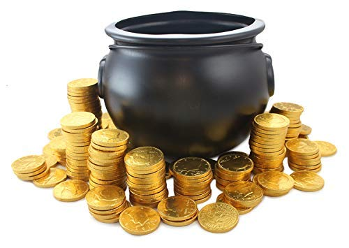Plastic Toy Cauldron with 2 Lbs of Chocolate Coins Decoration Candy Holder Black with Handle Large 8