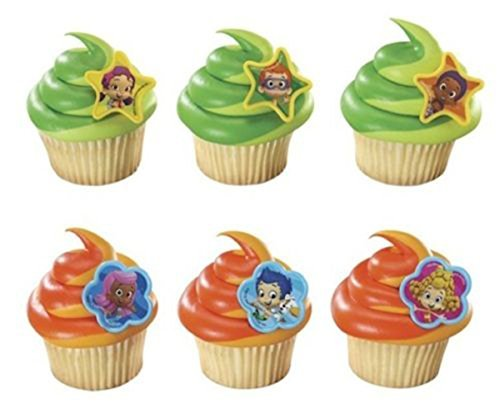 24 Bubble Guppies Cake Cupcake Pop Rings Girl Birthday Party Decorations Favors
