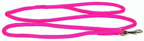 Hamilton 3/16 Inch x 4 Foot Round Braided Nylon Dog Lead with Swivel Snap, Hot Pink