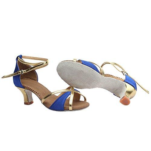Ballroom Satin S7 Chacha Latin Blue Standard Shoes Dance HROYL Women's Samba Modern 805 5cm gqvBnxgzw8