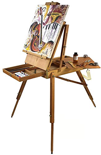 Artist Quality French Easel, Hardwood, Includes 16 x 20 Canvas Special Gift Edition -