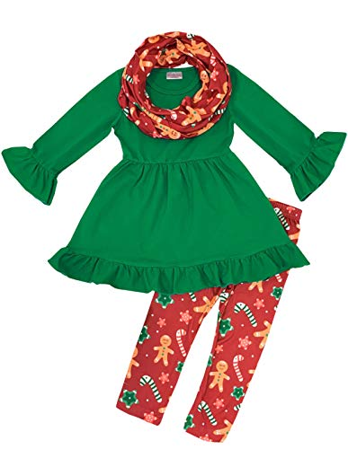 Toddler Little Girls Christmas Holiday Gingerbread Outfit Set with Scarf 3 pcs 3T/S