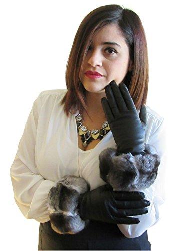 サービスご覧ください山チンチラの毛皮トリムFursNewYorkカシミヤは裏地ラムスキン黒革手袋