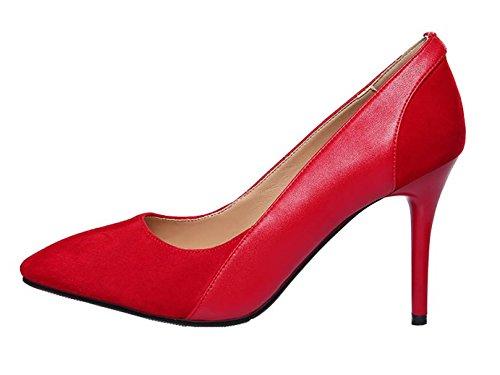 UK Shoes Slip qcfusw 2 On 7CM Women Vaneel Cone Heel Red 4 Court 5 xYOOzq5w
