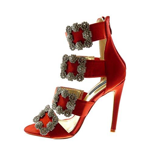 Tanga Aguja Rojo Hebilla Tobillo de Tacón Correa cm de Mujer Sandalias 11 Angkorly Zapatillas Strass Alto Tacón Moda Escarpín Stiletto PqvwnHgZ