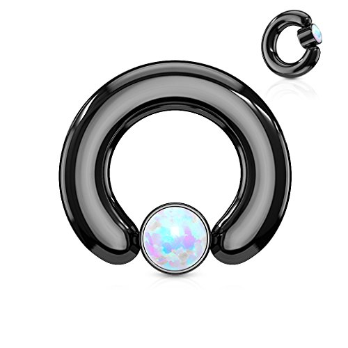 Inspiration Dezigns 10G 1/2 White Synthetic 4mm Opal Large Gauge Black IP Captive Ring