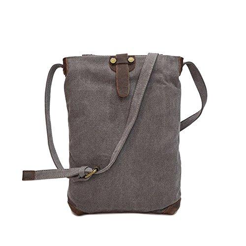 Compras Cremallera retro simple Bolso de hombro impermeable de lona Bolso de mensajero Color gris Cómodo