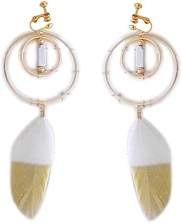 Screw Back Clip on Earring Clip for No Piercing Drop Dangle Feather Double Circle for Teens Dance White