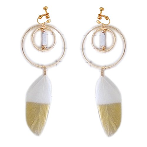 Screw Back Clip on Earring Clip for No Piercing Drop Dangle Feather Double Circle for Teens Dance ()