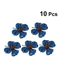 YeahiBaby 10pcs Colored Flower Embellishments Headband DIY Crafting Scrapbooking Accessories (Blue)
